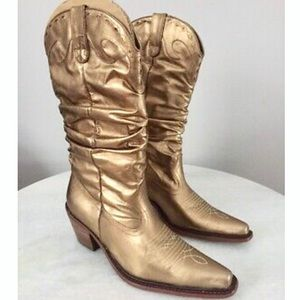 Steve Madden gold slouchy saddle cowboy boots